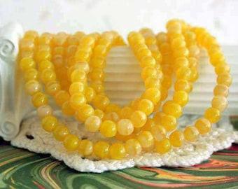 4mm Druks, Coral Lemon Czech Glass Druks, Round Glass Beads, Yellow Druks, Druk Beads CZ-118