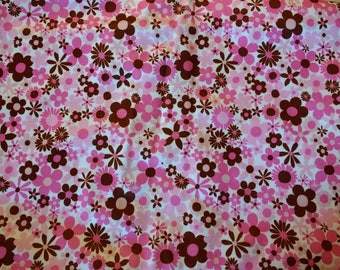 "PUL fabric, diaper fabric, polyurethane laminate fabric,  PUL fabric pink flowers print, 31""."