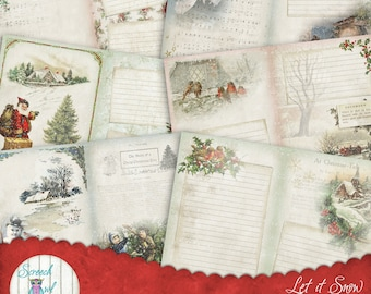 "Christmas Journal Pages 5"" x 7"", Digital Junk Journal, Printable Journal Kit, Ephemera, Paper Craft Supplies - Let it Snow"