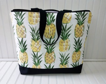Pineapple Bag -Pineapple Beach Bag - Pineapple Tote - Pineapple Tote Bag - Pineapple Beach Tote - Pineapple bag with Zipper - Beach Bag