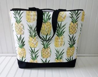 Pineapple Bag -Pineapple Beach Bag - Pineapple Tote - Pineapple Tote Bag - Pineapple Beach Tote - Pineapple bag with Zipper - Beach Bag