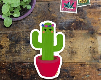 Cactus Sticker Decal - Laptop Sticker - Window Decal - Notebook Sticker - Phone Sticker - Happy Cactus - Cacti sticker