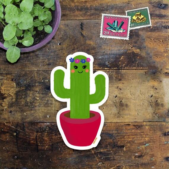 Cactus Sticker Decal - Laptop Sticker - Window Decal - Notebook Sticker - Phone Sticker - Happy Cactus - Cacti sticker