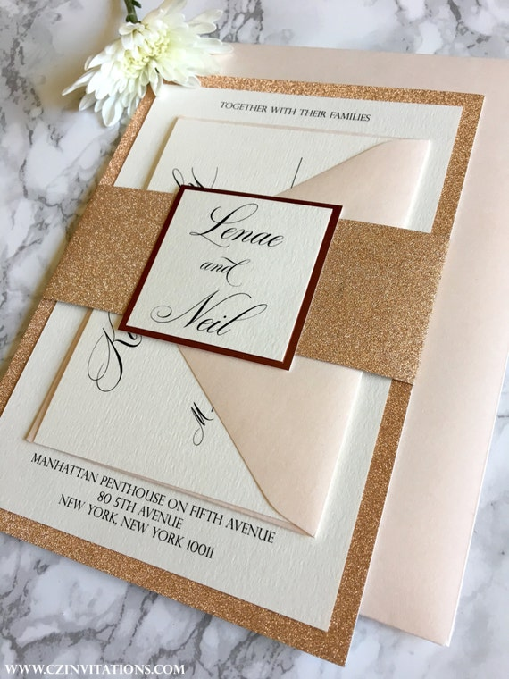 Rose gold glitter wedding invitation with glitter belly band junglespirit Images