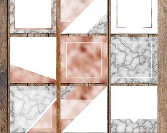 Marble and Copper Foil Instagram Template Pack | Instaquotes, Social Media Design, Social Branding, Instagram Design | Instant Download