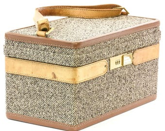 "Vintage ""Hartmann"" Tweed Train Case w/ Handle - FREE SHIPPING"
