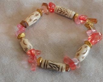 Starchild Engraved Bone Stretch Bracelet
