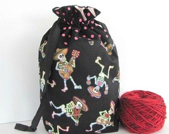 Medium knitting bag, Drawstring project bag, Tote, Knitters gift, Skeletons wristlet gift bag, Cinco de Mayo Musicians