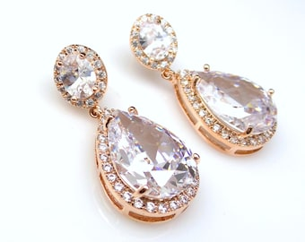wedding jewelry prom christmas gift pageant earrings bridal rose pink gold earrings Clear white teardrop AAA cubic zirconia on oval cz post