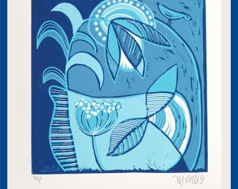 linocut, Blue Bird, landscape, blue on blue, printmaking, bird print, turquoise print, abstract, modern decor, modern art, semi abstract