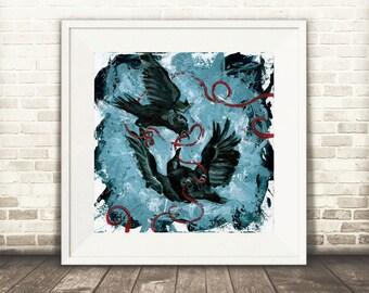 Crow art, Crow print, Crow painting, Raven artwork, Raven print, Dark art, Black Bird, Raven decor, Crow Decor, Crow wall art, Corvus
