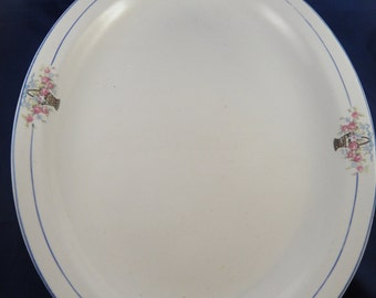 Canonsburg China Platter Basket with Flowers