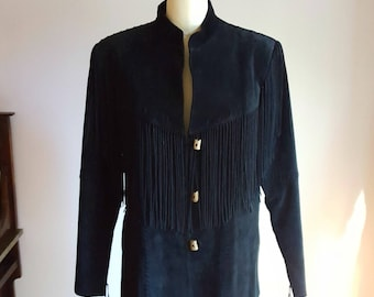 Scully, black suede, fringe jacket, size XL