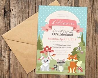 Woodland Wonderland Birthday Party, Fox, Rabbit, Raccoon, Bunny, Owl, Personalized Printable Invitation, Polka Dot ONEderland Invite