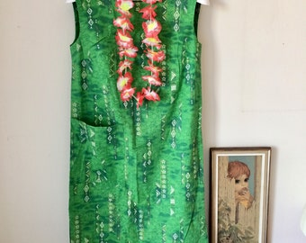 Fun Vintage Hawaiian Dress or Swim Suit Beach Cover Up Hookano Brand with Green, White, Gold Printed Fabric Aloha 50's 60's Fashion Clothing
