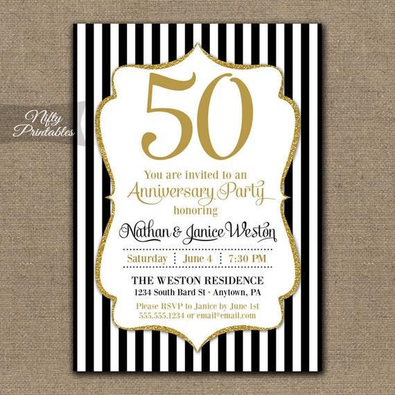50th anniversary invitations printable black gold fiftieth stopboris Images