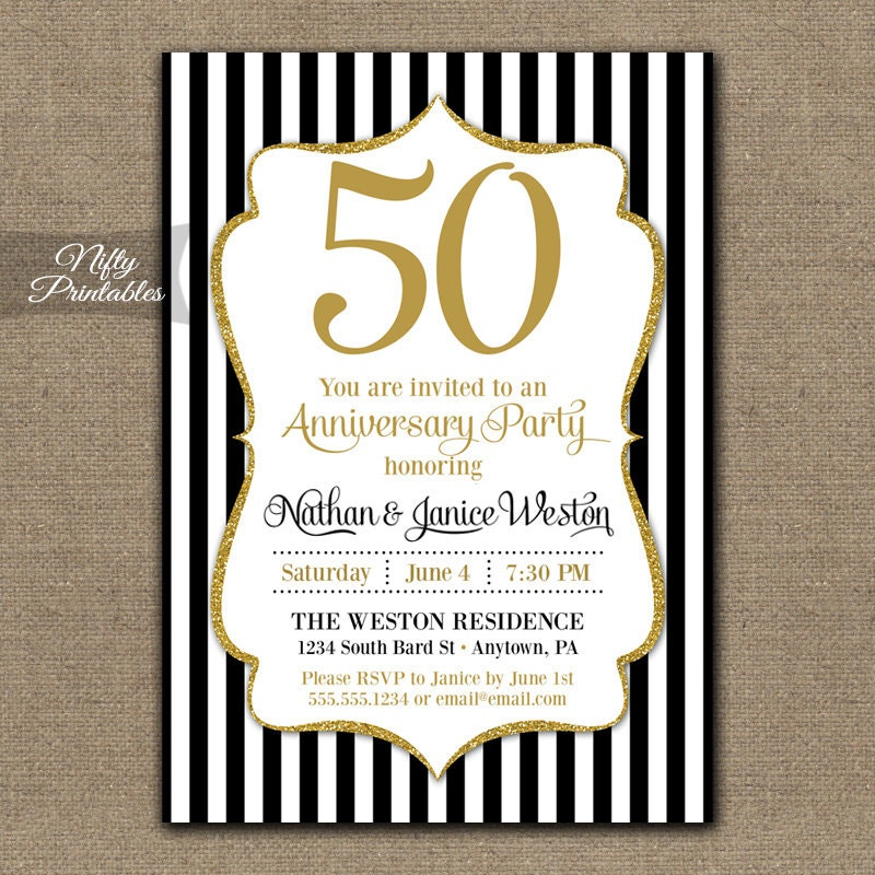 50th Anniversary Invitations Printable Black & Gold Fiftieth
