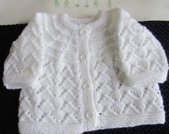 White size newborn - hand made knit baby Cardigan or jacket