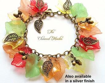 Autumn Leaves Charm Bracelet, Woodland Bracelet, Autumn Woods, Autumnal Jewellery, Acorns, Lucite Leaf Bracelet, Fall Bracelet, Equinox