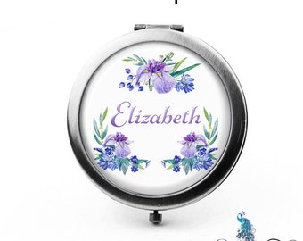 Compact Mirror Iris Flowers Floral Wreath The Elizabeth Bridesmaid Gifts Cosmetic Mirror Personalized Gifts Mom Birthdays Ladies Girls Women