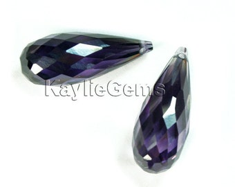 20x8mm Cubic Zirconia CZ Faceted Briolette Tear Drop- Purple - 1pc