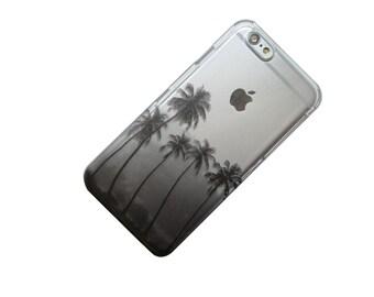 Palm Trees silhouette, iPhone Case, Transparent, Clear Phone Case, iPhone 6, iPhone 7, iPhone 5, iPhone SE, iPhone 6 Plus, iPhone 7 Plus