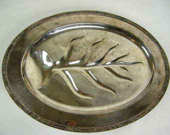 """SALE Silver Plated Meat Tray - Serving Platter Silver Plated Footed Large 18-1/4"""" Oval - Rogers Bros - Petite Flower Rim"""