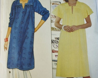 1980s Butterick 4908 Loose Dress Sewing Pattern, Size 14-16-18, Cut to largest Size, Three Quarter or Flutter Sleeves