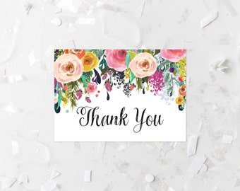 Bohemian Thank You Card Printable Boho Thank You Note Card Pink Floral Fold-Over Card Pink Thank You Flat Card Wedding Thank You Blush 216