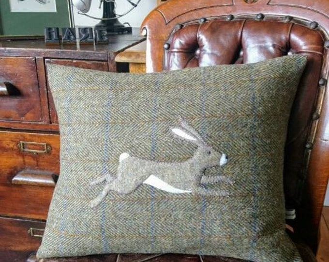 Hand Crafted Harris Tweed hare cushion cover new
