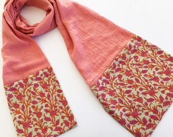 Coral Cotton Gauze & Block Print Cotton Scarf