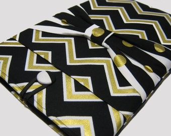 Surface Pro 4 Case, Microsoft Surface Case,  Surface RT Cover, Surface Pro 3 Case, Surface 2 Case, Gold Chevron W/ Bow