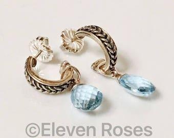 Designer 925 Sterling Silver & 750 18k Blue Topaz Briolette Drop Hoop Earrings Free US Shipping