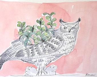 Forest Within Me. Original pen and ink watercolor painting Succulents Owl art Original painting Green Pink drawing illustration 9x12 kmoeri