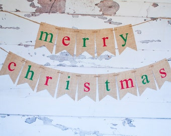 Merry Christmas Banner, Christmas Burlap Banner,  Merry Christmas Burlap Banner, Christmas Decor, Holiday Decor, Christmas Banner, B388