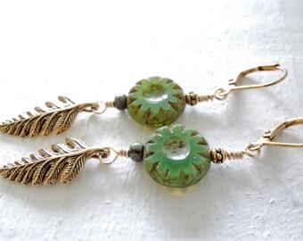 Gold Fern Earrings Fiddlehead Fern Earrings Green Czech Glass Gold Dangle Earrings Earthy Natural Style Green Dangles Nature Inspired Gift