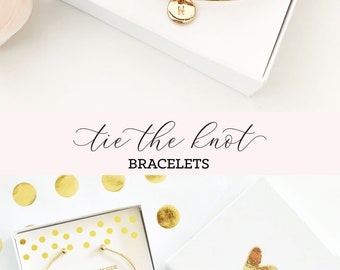 Tie The Knot Bracelet Gold Tie The Knot Bracelet Bridesmaid Proposal Will You Help Me Tie The Knot Bracelet Monogrammed (EB3145M)