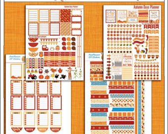 Planner Kit Stickers!  Autumn Days Printable Planner Stickers for Happy Planner 4 PDFs Owls, Pumpkins, Banners, Titles, Icons