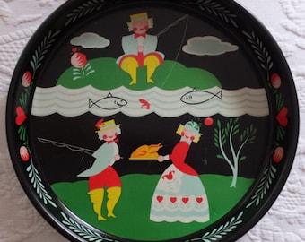 Whimsical Vintage Pennsylvania Dutch Folk Art Fishing For Dinner No Fish But Had Turkey Round Metal Tray