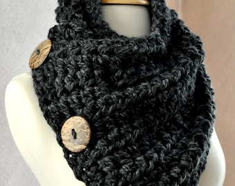 Ooh La La European Fashion Scarf. Warm, cozy & stylish scarf with 3 large coconut buttons.
