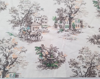 Antique Toile Fabric Country Life South French 2 Panels For Curtains Cotton A43