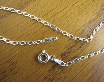 """18"""" Sterling Silver chain , Figure 8 Chain with Spring Ring , figure 8 chain"""