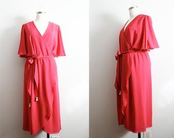 1970s Angel Wing Wrap Dress w/ Rhinestone Pearl Belt