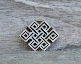 Infinite knot stamp Tibetan Buddhist symbol eternity celtic wood block stencil printing textile pattern ethnic boarder hand carved wooden