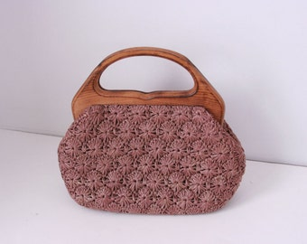 Vintage Dayne Taylor straw purse with wooden handle made in japan