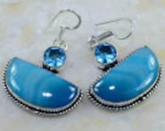 "Handmade Botswana Agate and Blue Topaz Silver Earrings 1 3/4"""