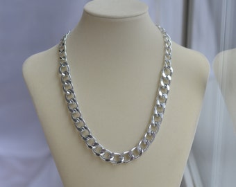 CLOSEOUT Chunky Silver Chain Necklace - Silver Chain Link Necklace - Large Big Chain Necklace - Edgy Necklace - Simple Short Chain Necklace