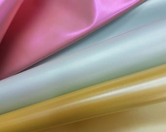 NEW - Pearly Metallic Glossy Sheen Effect Lambskin Yellow or Pink or Off White Color Genuine Leather Shiny Pearly Surface