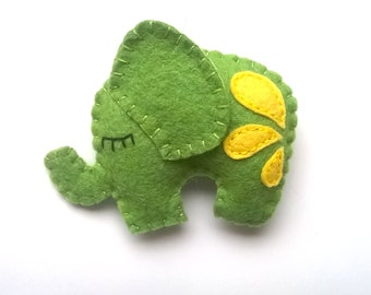 Felt elephant ornament in green and yellow home decor for Christmas Nursery decoration Baby shower toy eco-friendly animals for kids