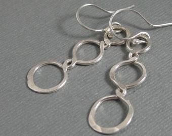Handmade sterling silver triple loop drop earrings, Artisan dangle hammered  earrings in sterling silver